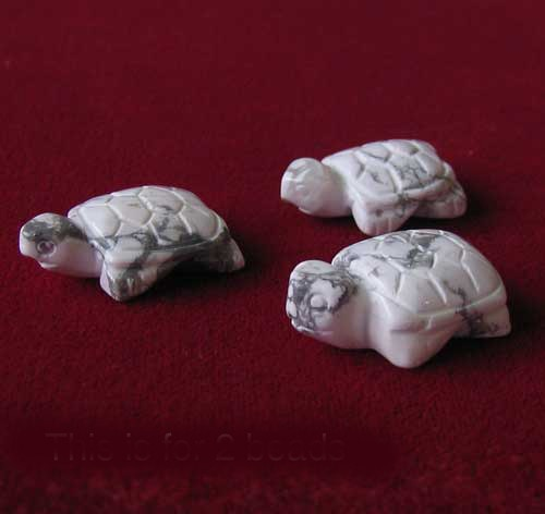 Hand Carved 2 White Howlite Turtle Beads | 23x18x10mm | White/Gray - PremiumBead