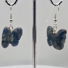 Load image into Gallery viewer, Flutter Carved Sodalite Butterfly Sterling Silver Earrings | 1 1/4 inch long | - PremiumBead Alternate Image 5