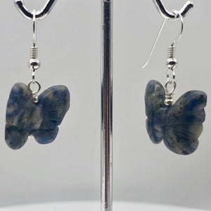 Flutter Carved Sodalite Butterfly Sterling Silver Earrings | 1 1/4 inch long | - PremiumBead Alternate Image 5