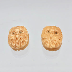 Pair of Wise Owl Carved Beads | 2 Beads | 16x13x5mm | 8625 - PremiumBead Alternate Image 4
