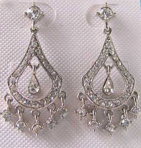 Holiday! Silvertone & White Crystal Fashion Earrings 10080A - PremiumBead