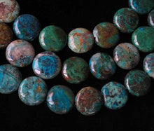 Load image into Gallery viewer, Natural Chrysocolla 12mm Coin Bead Strand 110421 - PremiumBead Alternate Image 2