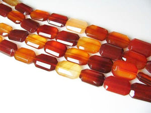 Five Beads of Faceted Carnelian Agate 12x18mm Rectangular Beads 10600P - PremiumBead Alternate Image 2