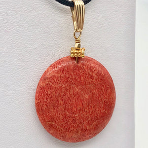 "Big Cell Red Coral Disc & 14K Gold Filled Pendant | 30mm, 1.88"" (long) 