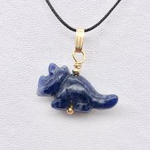 Load image into Gallery viewer, Sodalite Triceratops Dinosaur with 14K Gold-Filled Pendant 509303SDG - PremiumBead Alternate Image 8