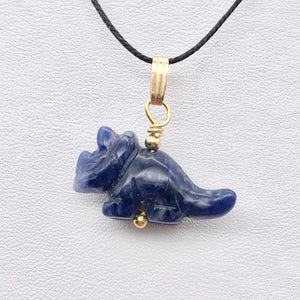 Sodalite Triceratops Dinosaur with 14K Gold-Filled Pendant 509303SDG - PremiumBead Alternate Image 8