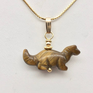 Tigereye Diplodocus Dinosaur with 14K Gold Filled Pendant 509259TEG - PremiumBead
