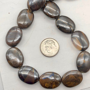 Rivers of Fire! Boulder Opal Oval Bead 8 Inch Strand | 20x15x7mm | 10 Beads | - PremiumBead