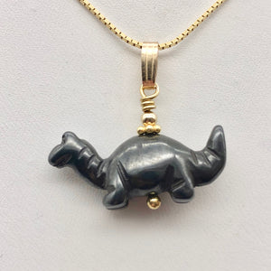 Hematite Diplodocus Dinosaur with 14K Gold-Filled Pendant 509259HMG - PremiumBead Alternate Image 5