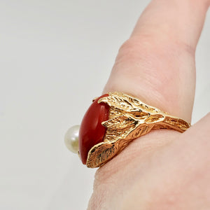 Natural Red Coral & Pearl Carved Solid 14Kt Yellow Gold Ring Size 5.75 9982D - PremiumBead Alternate Image 12