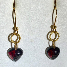 Load image into Gallery viewer, Heart-Shaped Garnet in Simple Elegant 22K Vermeil Earrings 310654 - PremiumBead