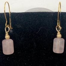 Load image into Gallery viewer, Madagascar Rose Quartz Tube Bead 14k Gold Filled Semi Precious Stone Earrings - PremiumBead Alternate Image 6