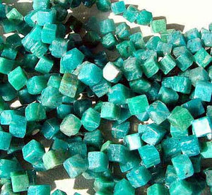 4 Natural Russian Amazonite Diagonal Cube Beads 7396 - PremiumBead Alternate Image 2