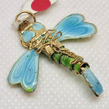 "Load image into Gallery viewer, Spring Green Cloisonne Dragonfly Pendant! 1.5x1.25"" 504232 - PremiumBead Alternate Image 3"
