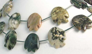 2 Hand Carved Ocean Jasper Fish Beads | 24x20x5mm-17x18x7mm | Green and Grey - PremiumBead