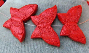 Hand Carved Red Cinnabar Butterfly Bead Strand | 34.5x23x7mm | Red - PremiumBead
