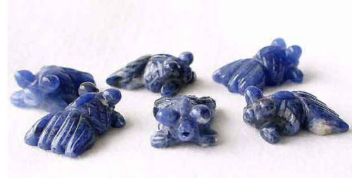 Swimmin' 2 Hand Carved Sodalite Goldfish Beads | 20x14x8mm | Blue white - PremiumBead Primary Image 1