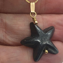 Load image into Gallery viewer, Hematite Starfish Pendant Necklace | Semi Precious Stone | 14k gf Pendant - PremiumBead Alternate Image 2