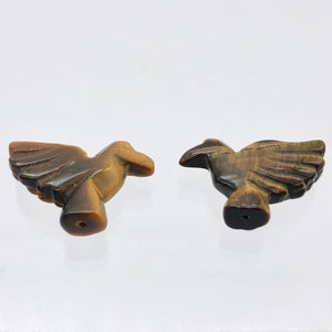 Lovely 2 Hand Carved Tiger's Eye Dove Bird Beads | 25.5x18x7 | Golden - PremiumBead