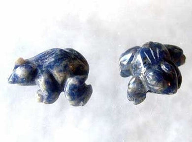 Ribbit 2 Realistic Carved Sodalite Frog Beads | 20x18x9.5mm | Blue white - PremiumBead