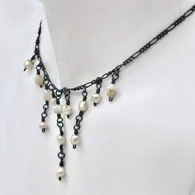 Unique Antiqued Freshwater Pearl Dangle Necklace 4234 - PremiumBead