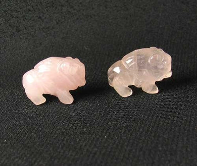 2 Rose Quartz Hand Carved Bison / Buffalo Beads | 21x14x8mm | Pink - PremiumBead