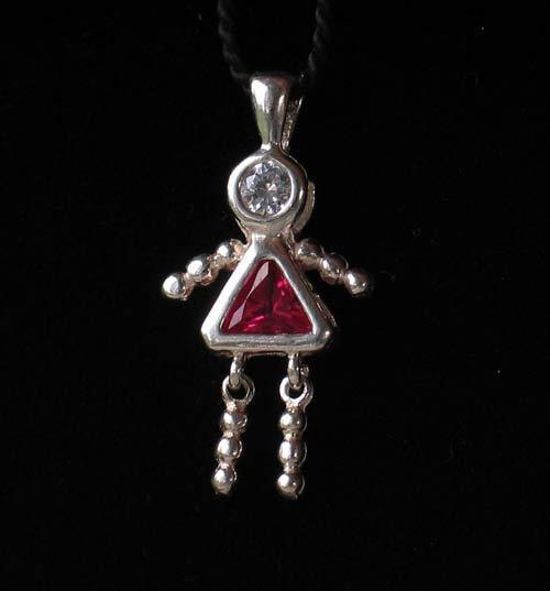 July! Crystal Kid Girl & Silver Pendant 9924Gg - PremiumBead Primary Image 1