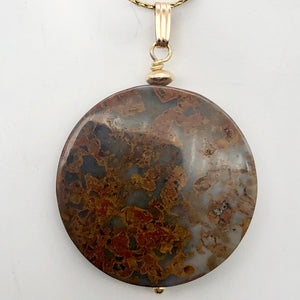 "AutumnLeaves Druzy Ocean Jasper 14K Gold Filled Pendant | 30mm | 1 3/4"" Long 