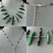Load image into Gallery viewer, Designer Ruby Zoisite Drop & 925 Sterling Silver 18-21 inch Necklace 6337 - PremiumBead