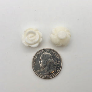 3 Elegant Carved White Clam-shell Rose Flower Button Beads 10782 | 47x37mm | Cream - PremiumBead