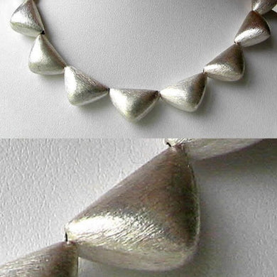 Designer 12 Brushed Silver Triangle Bead (24 Grams) 8 inch Strand 107236 - PremiumBead