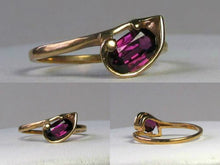 Load image into Gallery viewer, Natural Purple Faceted Oval Garnet in Solid 10Kt Yellow Gold Ring Size 6 9982Ac - PremiumBead