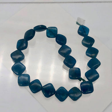 Gemmy Blue Apatite 8x8x4mm Diagonal Drilled Bead Half-Strand | 21 Beads | - PremiumBead Primary Image 1