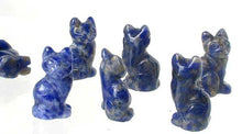 Load image into Gallery viewer, Adorable! 2 Sodalite Sitting Carved Cat Beads | 21x14x10mm | Blue white - PremiumBead
