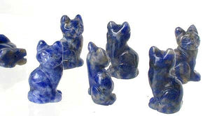 Adorable! 2 Sodalite Sitting Carved Cat Beads | 21x14x10mm | Blue white - PremiumBead