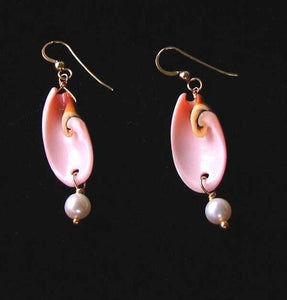 Divine Spiral Shell and FW Pearl 14Kgf Earrings 308932 - PremiumBead Primary Image 1