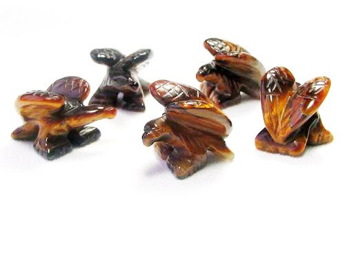2 Soaring Carved Tigereye Eagle Beads | 18x18x7mm | Golden Brown - PremiumBead