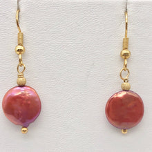 Load image into Gallery viewer, Rusty/Red 12mm Freshwater Pearl and 14k Gold Filled Earrings 307277A - PremiumBead