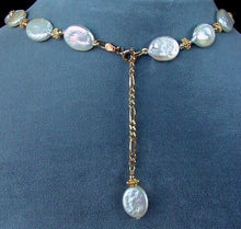 Load image into Gallery viewer, Cream Freshwater Pearl Oval Coin and 22K Vermeil 17.5-20.5 inch Necklace 200003 - PremiumBead