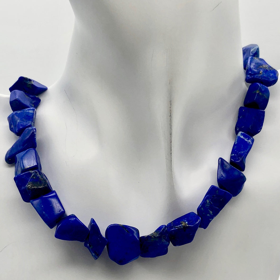 Intense! Natural Gem Quality Lapis Lazuli Bead Strand | 35 beads | 14x11x6mm | - PremiumBead Primary Image 1