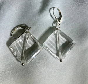 Carved Quartz Diamond-Shaped Beads & Silver Earrings 310049A - PremiumBead