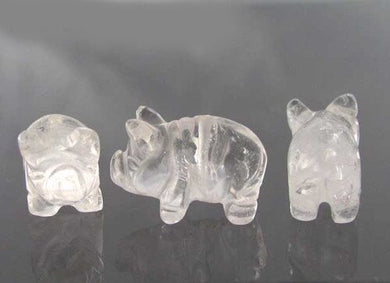 Oink 2 Carved Quartz Pig Beads | 23x16x11mm | Clear - PremiumBead