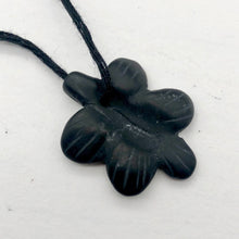 Load image into Gallery viewer, 1 Carved Matte Onyx Butterfly Flower Focal Bead | 26x20x4mm | Black - PremiumBead