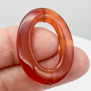 So Hot! 1 Carnelian Agate Oval Picture Frame Bead 8940 - PremiumBead