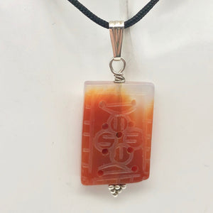 "Hand Carved Carnelian Agate & Sterling Silver Pendant | 28.5x19mm | 1.94"" Long - PremiumBead"