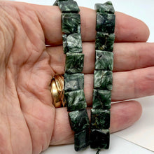 Load image into Gallery viewer, Siberia Russian Seraphinite 12x12x4mm Square Bead Strand | 33 Beads |
