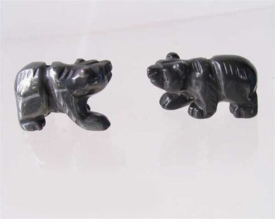 Roar! 2 Hand Carved Natural Hematite Bear Beads 9252Hm | 13x18x7mm | Silver black - PremiumBead