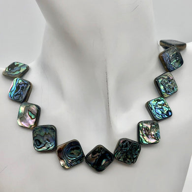Blue Sheen Abalone 15mm Square Pendant Bead Strand - PremiumBead