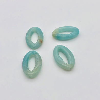 4 Picture Frame Amazonite 20x12x4mm Oval Beads 009368D - PremiumBead