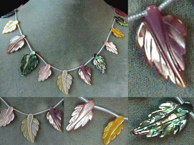 Abalone Pink and Golden Mother of Pearl Shell Carved Leaf Bead Strand 104321B - PremiumBead